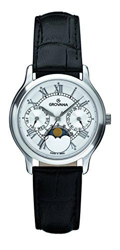 Grovana-Orologio Unisex al quarzo con Display analogico e cinturino in pelle nera, 3025,1533