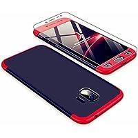 Funda Samsung Galaxy J2 Pro 2018, Carcasa Samsung Galaxy J2 Pro 2018 con [ Cristal Templado] 3 en 1 Desmontable 360 Grados Anti-Arañazos Protectora Caso, Rojo y Negro