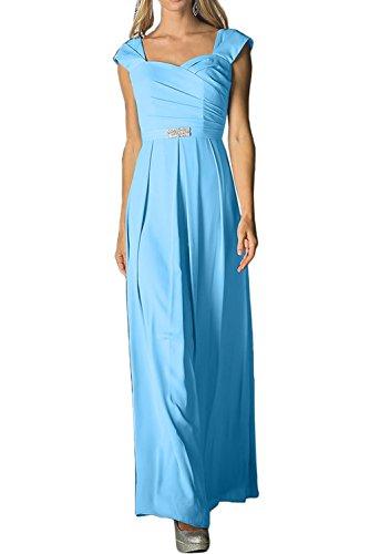 Promgirl House Damen Einfach Traeger A-Linie Chiffon Lang Abendkleider Ballkleider Blau