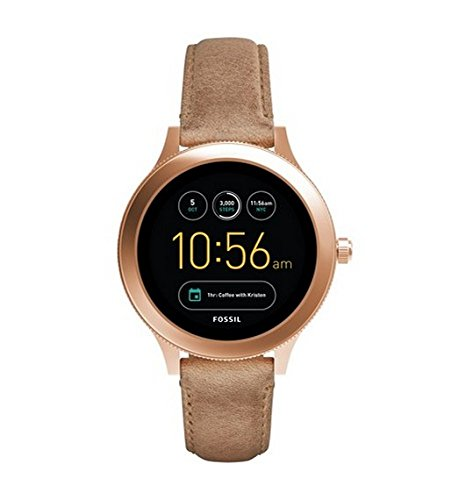 Preisvergleich Produktbild Fossil Damen Smartwatch Q Venture 3. Generation - Leder - Sand / Moderne Smartwatch mit Lederarmband im Vintage Design / Für Android & IOS