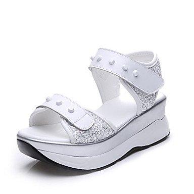 RUGAI-UE Sommer Damen Sandalen Schuhe Casual PU Komfort Keilabsatz, Weiß, US 9 / EU 40/UK7/CN41 White