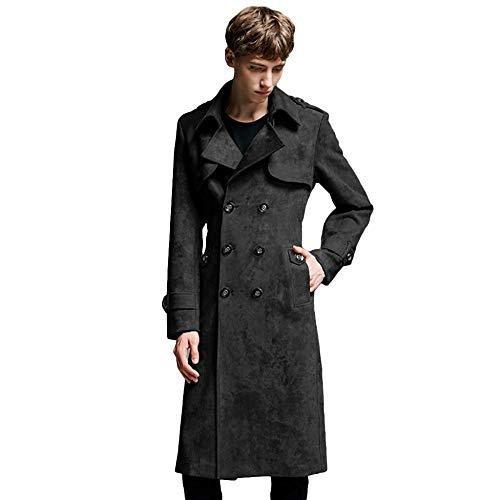 MERRYHE Vintage Suedette Trenchcoat Für Männer Zweireiher Lange Jacken Mode Mantel Top Mäntel Oberbekleidung,Black-XL(Bust/112cm)