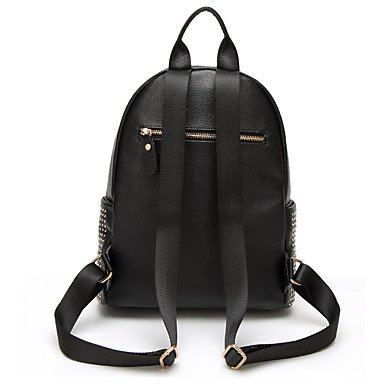 Frauen Rucksack PU Oxford Tuch alle Jahreszeiten Hochzeit Event / Party and Sport formellen Outdoor Büro & Karriere Schaufel Niet Reißverschluss Schwarz Black