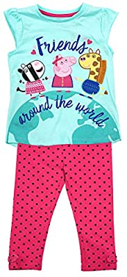 Girls Peppa Pig Zebra Giraffe Friends T-Shirt Top & Leggings Set Sizes from 1 to 5 Years : everything five pounds (or less!)