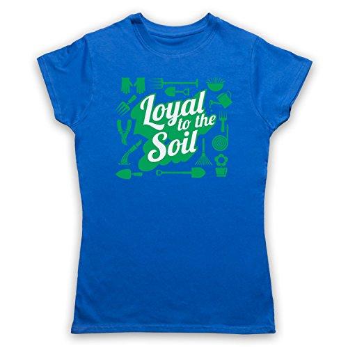 Loyal To The Soil Gardening Slogan Damen T-Shirt Blau