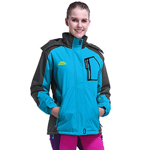 IMJONO Women es Winter Outdoor Cashmere Thickening Zipper Hoodie Sport Outdoor Coat (Large,Blau)