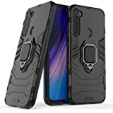 ZIVITE Shockproof Soft TPU and Hard PC Back Cover Case with Ring Holder for Redmi Note 8 - Armor Black