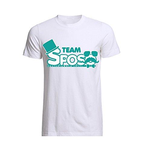T-shirt uomo maglietta per addii al celibato bianca personalizzata team sposo sosteniamolo tutti - m