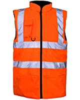Hi Viz Vis Visibility Fleece Reversible Waterproof Body Warmer Gilet Waistcoat