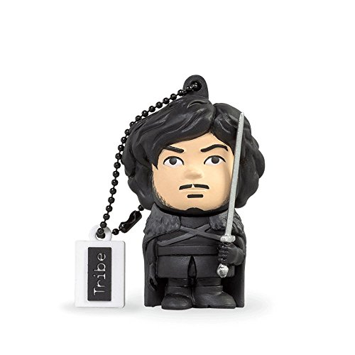 Tribe game of thrones (il trono di spade) jon snow chiavetta usb da 16 gb pendrive memoria usb flash drive 2.0 memory stick, idee regalo originali, figurine 3d, archiviazione dati usb gadget in pvc con portachiavi - nero