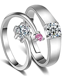 Peora Silver Plated Elegant Solitaire Adjustable Couple Rings for Lovers Anniversary Engagement Promise Jewellery for Men and Women Girlfriends Boyfriends