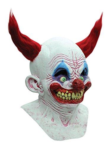Grinsender Killer Clown Halloween Maske Deluxe mit Haaren weiss rot blau