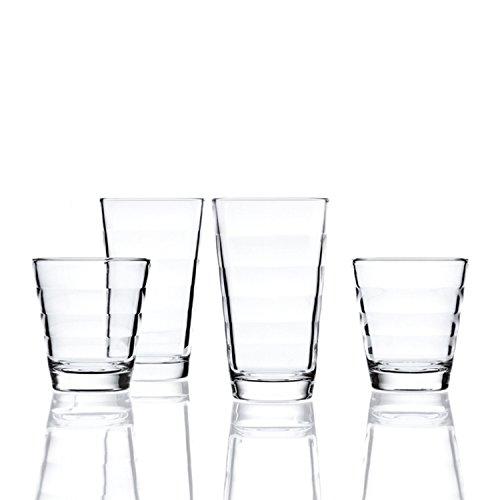 Leonardo Onda Set 12 Becher, 12-teilig, 6 große Becher je 300 ml und 6 kleine Becher je 210 ml, Klarglas, 011019 - Wasser Gläser Trink