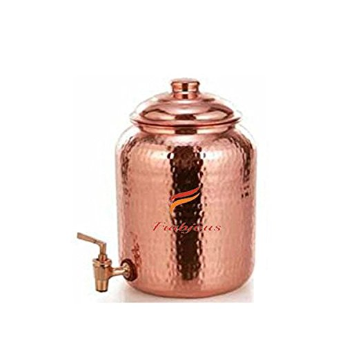 Frabjous Handmade Pure Solid Copper Water Pot Tank Matka, 5 Ltr