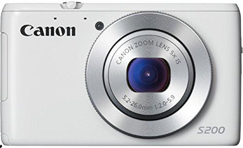 Canon PowerShot S200 Digitalkamera (10,1 MP, 5-Fach Opt. Zoom, 7,5cm (3 Zoll) LCD-Display, Full HD, GPS) weiß