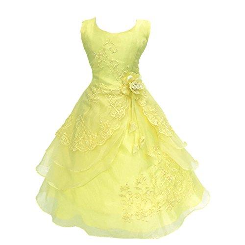 Wunderschöner Mädchen Prinzessin ärmellos Ballkleid Party Kleid Gelb (Für Kleider Gelb Mädchen)