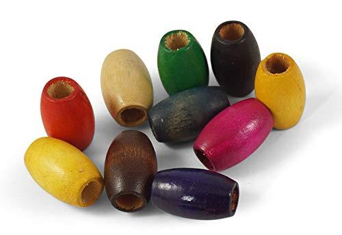20 Stück große Bunte Holzperlen 30mm x 20mm mit großem Loch (9mm) zum Basteln und Auffädeln | rund/oval für Dreads, Makramee knüpfen