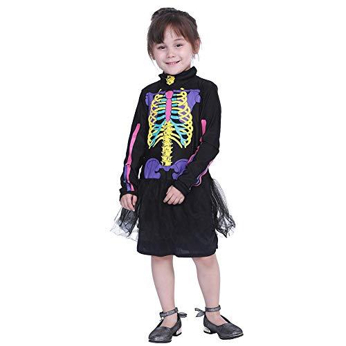 Aediea Halloween-Kostüm, niedliches Kinder-Kleid, farbenfrohes Skelett-Anzug, Halloween-Outfits, Polyester, M, M (Niedliche Halloween Outfits Für Frauen)