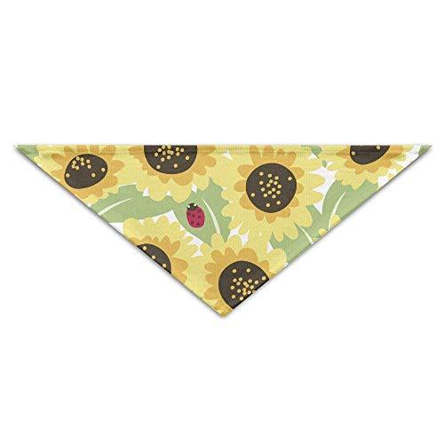 Wfispiy Lovely Sunflower Lady Beetle PrintingDog Birthday Pet Bandana Collars for Dogs and ()