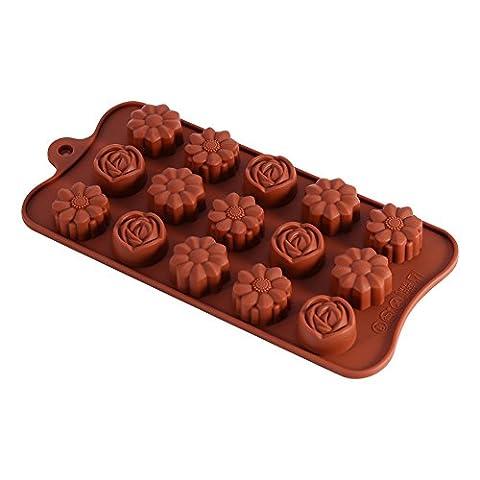 Moule chocolat en silicone 15 roses Moule plateau à gâteau savon bonbon pour Saint-Valentin Pâques