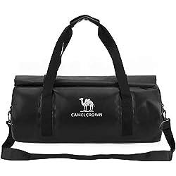 CAMEL CROWN 40L Bolsa de Deporte Impermeable, Bolsa para Gimnasio Viaje Duffel Bag Multiuso, Bolso Bandolera para la Natación, Surf, Viajar, IR de Excursión Hombres Mujeres Amarillo Negro