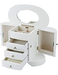 Mele & Co 'Saskia' White and Silver Large Wooden Jewellery Box