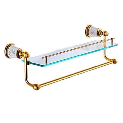 OaLt-t Badezimmerregal aus satiniertem Glas Wandregal aus gebürstetem Nickel Edelstahl Toilette 2-stufiges Regal aus gehärtetem Glas -
