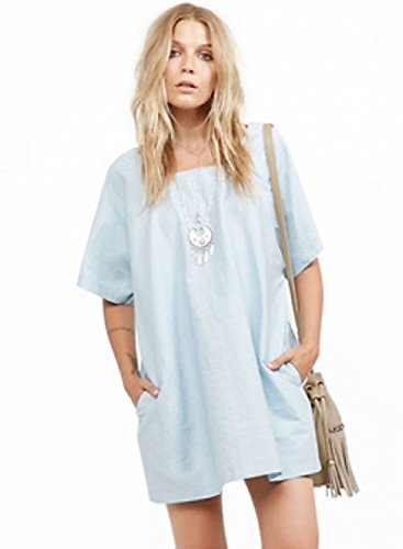 ACHICGIRL Women's Casual Square Neck Half Sleeve Loose fit Dress Blue