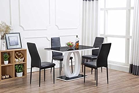 Giovani Black/White High Gloss Glass Dining Table Set and 4 Chairs Seats (Dining Table Only)