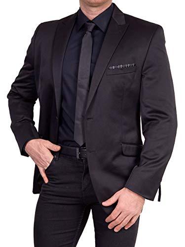 Unbekannt Herren Sakko Regular Fit klassisch Reverskragen Blazer Zweiknopf Jackett Anzug Slim Fit bequem, Größe 46, schwarz-grau
