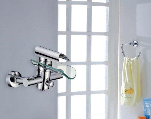 Wasserfall Schublade (HAC24 Aufputz Wasserfall Glas Wannenarmatur Chrom   Wasserhahn Bad Silber   Einhebelmischer Badewanne   Einhebel Mischbatterie  Wannen Armatur   Badewannenarmatur)