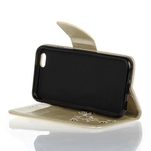 Etsue iPhone 6 Cover,iPhone 6S Custodia in Pelle,Elegante Bella Butterfly Oro Gold Artificiale Leather PU Puro Portafoglio Case Cover,Wallet/Libro/Flip Protettiva Case Cover Con Magnetica Chiusura/Car Oro