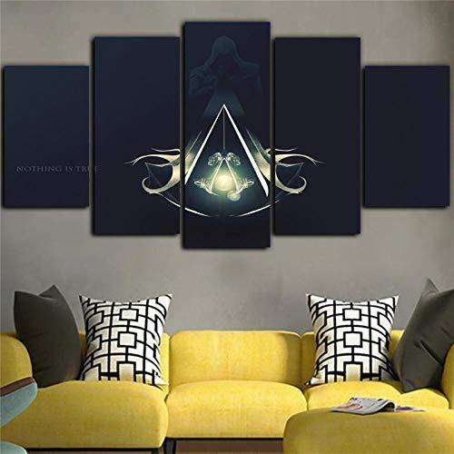 5 Stücke Wandmalerei Spiel Kunst Leinwand Assassins Creed Poster Leinwand Wasserdichte Tinte Schwarz Malerei Zimmer Rahmen-Ohne rahmen -