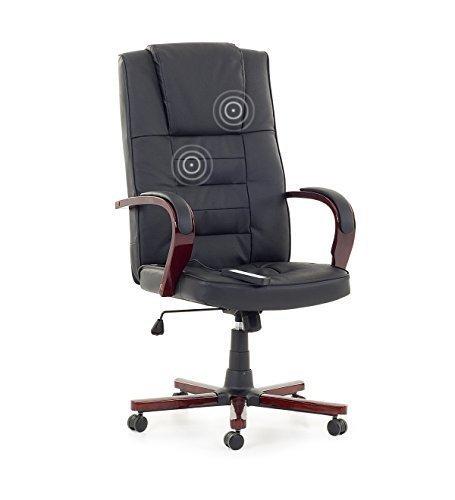 """Leder Chefsessel Massagesessel Bürostuhl Drehstuhl """"San Diego"""" mit Massage + Sitzheizung Farbe schwarz, Fußkreuz und Armlehnen aus Holz Bürosessel günstig"""