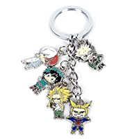 Sbarden My Hero Academia Animation Around Alloy Keychain with 5 Pendants Collectible Key Ring Bag Novelty Accessory Anime Cartoon Pendant Anime Fans Gift( H01)
