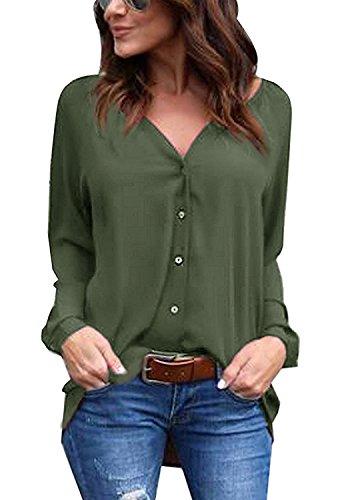 Minetom donne magliette casuali delle camicette della del collo del rivestimento del manicotto camicia verde militare it 46
