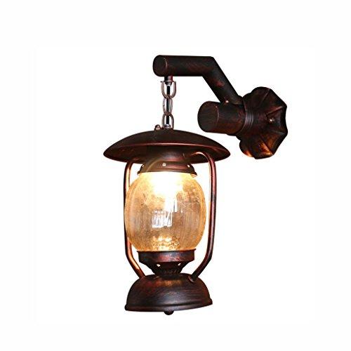 Ajzxhe lanterna di antiquariato creativo caffè corridoio balcone loft lampada da parete in ferro battuto lampade a cherosene - lampada da parete