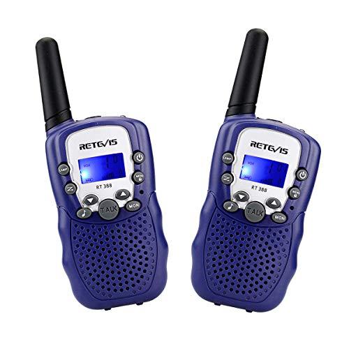 Retevis RT388 Walkie Talkie Niños PMR446 8 Canales LCD Pantalla VOX 10 Tonos de Llamada Linterna Incorporado Walkie-Talkie Niños Juguete Regalo para Niños (Azul Oscuro, 1 Par)