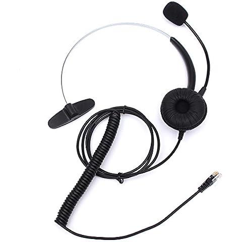 ELEGIANTqroiip819 RJ11 - Cascos con micrófono con cancelación de ruido para teléfonos fijos