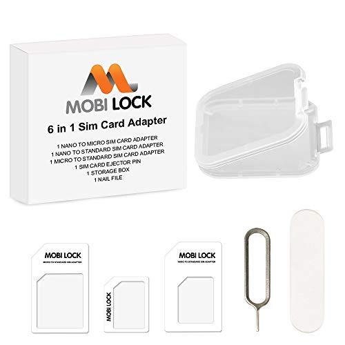 Mobi Lock Kit Adaptateur Carte SIM (Nano / Micro / Standard) 6 en 1 , Boîte de Rangement et Lime GRATUITE Compatible avec tous Téléphones Apple, Samsung, HTC, Google et tous