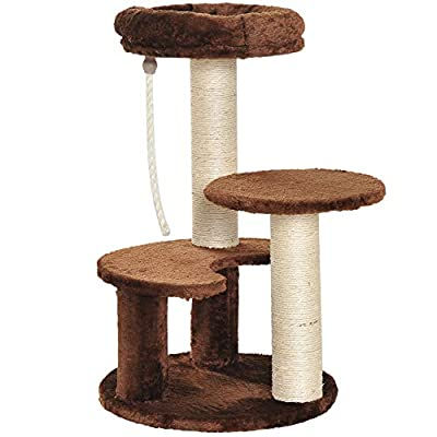 Pawhut Cat Tree Scratcher Kitty Activity Center Scratching Post Playhouse 2 Perch w/Hanging Sisal Rope Two Colours from Sold by MHSTAR