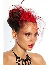 Mini Hat Fascinateur Noir Rouge Voile Tulle Accolade Rockabilly Vacances Chapeau, Couleur:Rouge;Taille:Taille Unique
