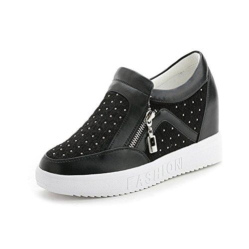 Senhoras Casuais Strass Zipper Redonda Rebite Toe Simples Planas Grossas Sneakers Único Elevador Preto