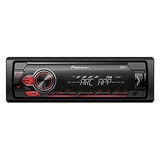 Pioneer MVH-S210DAB | 1DIN Autoradio mit RDS und DAB+ | rot | USB für MP3, WMA, WAV, FLAC | AUX-Eingang | Android-Unterstützung | iPhone-Steuerung | ARC App