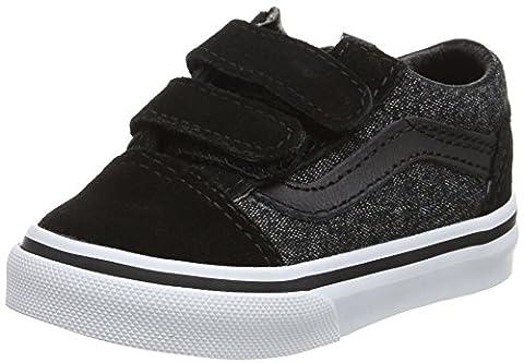 Vans Old Skool V, Chaussures de Running Mixte Bébé, Noir (Blacksuede/Suiting), 24 EU