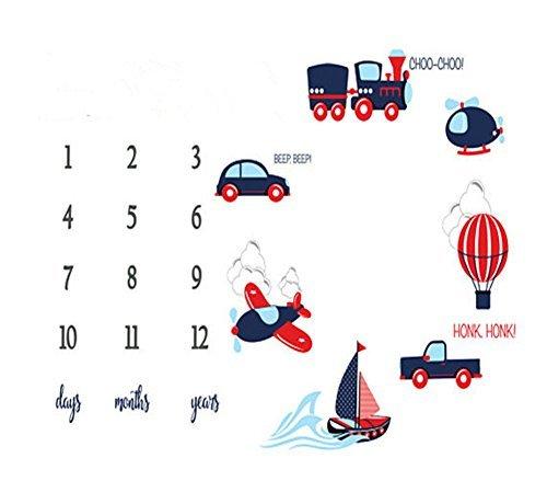 Citihomy Baby Monatliche Meilensteindecke Neugeborene Jungen Foto Requisiten Triebe Kulisse Personalisiertes Auto Flugzeug Fotografie Wachsende Säuglinge Kleinkinder Wickeln Decke (Kulissen Foto Requisiten Und)