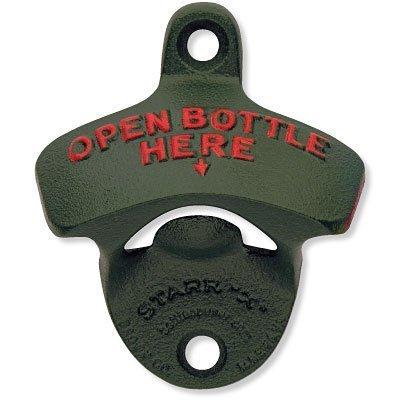 1 X Green Open Bottle Here Starr X Wall Mount Bottle Opener - Powder Coated - New! by Starr X Wall Mount Bottle Opener