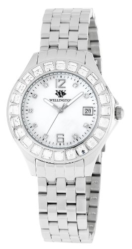 Wellington Ladies Quartz Watch with White Dial Analogue Display and Silver Stainless Steel Bracelet WN500-181