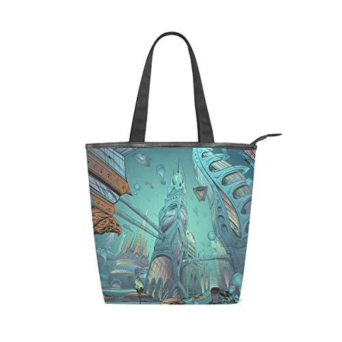 Jeansame Einkaufstasche aus Segeltuch mit Tragegriff, Schultertaschen mit Reißverschluss, Ocean Sea Future City World