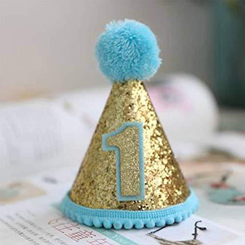 Ein Für Kostüm Olds Jahr - vap26 Hut Hund Pailletten Katze Welpe Haustier Mütze Zubehör Geburtstag Party Kostüm (1 Jahr Oldpink) - Blau, 1 Year Old
